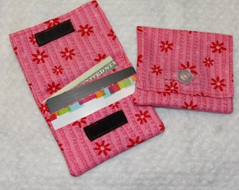 Pink fabric Credit card and cash holder