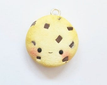 Kawaii Chocolate Chip Cookie Charm/Keychain/Necklace Handmade Polymer Clay Jewelry