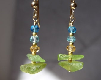 Peridot Earrings, raw peridot earrings, Peridot Rough, Gemstone Earrings, Green Earrings, raw gemstone earrings
