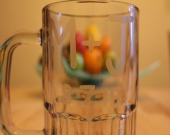 Etched Beer Mug- Personalized Groomsmen Mug- Groomsmen Gift- Etched Drinking Glass- Monogram Groomsmen Gift- Monogram Beer Mug- Monogram Mug