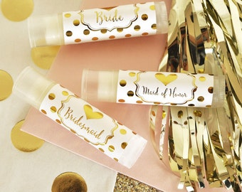 White and Gold Bridal Party Lip Balm Gifts (set of 12)