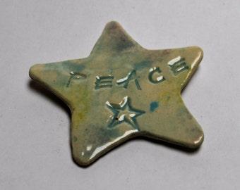 Fridge Magnet. Ceramic  Magnet. Peace Star. Stoneware Clay.  Star Magnet. Gift for Her. Gift for Him. World Peace. Refrigerator Magnet.