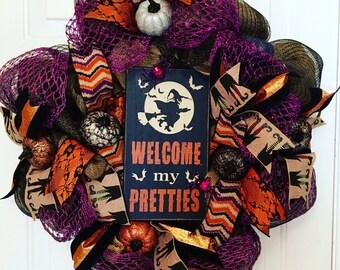 Halloween Wreath, Halloween Deco Mesh Wreath, Halloween Burlap Wreath, Witch Wreath
