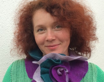 Felted Wool purple and green Scarf-Neckpiece-Collar.  Wrap scarf For her.