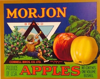 Rare Vintage Fruit Crate Label for Morjon Apples