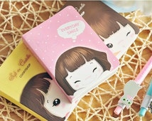 Kawaii Journal Mini Book - Thick Palm-Sized Notebook, Dairy, Colorful Pages, Sweet Girl, Cute Stationary