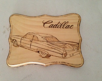 Wood-Burned Plaque -1959 Cadillac