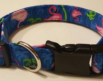 Dog collar, flamingo/palm trees, flamingo dog collar, flamingos, palm trees, palm tree dog collar, flamingo collar, palm tree collar
