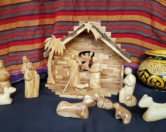 Large Handmade Traditional Olive Wood Nativity  - 100% Solid Olive wood