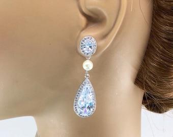 Teardrop Earrings, Bridesmaid Earrings, Bridal Earrings, Bridal Wedding Jewelry, Bridal Wedding Earrings, Swarovski Pearl Earrings