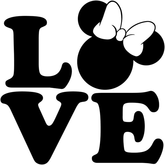 Love Minnie Mouse Head Walt Disney Disneyland World Decal