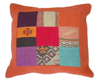 "Boho Pillow,Vintage Kilim Pillow,Homedecor Decorative Pillow,Patchwork Pillow,Woven,Interiors Accent Pillow,22""x24"",FREE Shipping in USA"