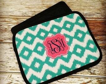 SALE Monogram Tablet Device Sleeve - Personalized Neoprene Bag for iPad, Kindle, Nook E-Reader - Choice of Design, Frame & Color