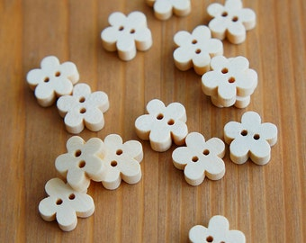 Daisy Flower Wood Buttons 2 Holes - Natural Color 11mmX11mm - Children Deco Beads Embellishment Scrapbook Sewing Craft DIY
