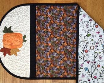 Pumpkin Appliqued Fall Table Runner
