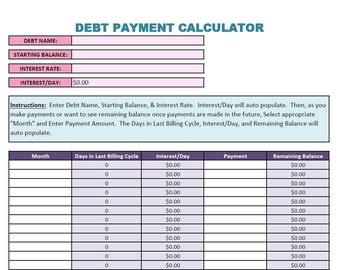Debt Payment Calculator (.XLS)