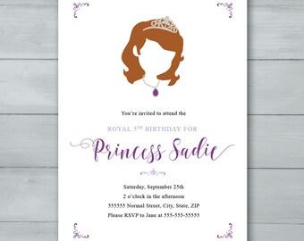 Sofía la primera invitación fiesta de cumpleaños |  Invitación de Sophia |  Invitación de princesa