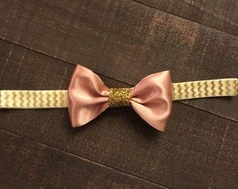 Silk Bow Headband- Gold Cheveron- Baby Headband- Toddler Headband