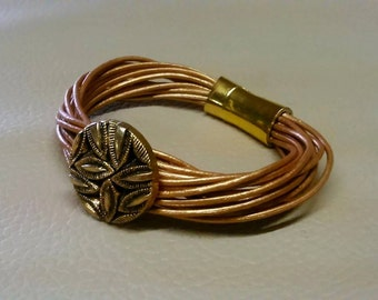 Golden Leather Bracelet with Golden Magnetic Clasp