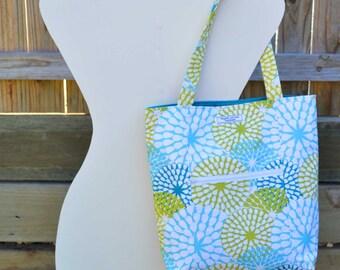 Teal 'Jessie' Tote, fabric tote bag, handmade tote bag