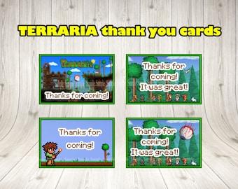 TERRARIA thank you cards. Terraria party.Terraria printable.Terraria birthday .Terraria decoration.terraria thanks cards.terraria invitation