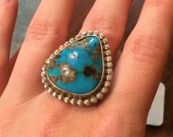 Large vintage Morenci turquoise ring