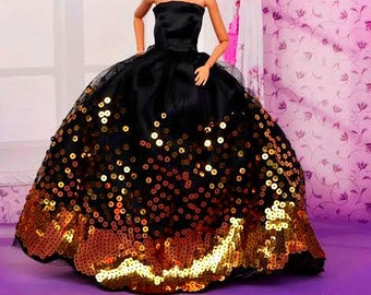 Barbie doll clothes, Sparkly barbie gown, With Satin Hat, barbie clothes, Barbie dress, Barbie ballgown,  Barbie fashion, Barbie clothing