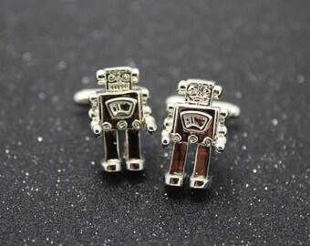 silver robot cufflinks man cufflinks party cufflinks