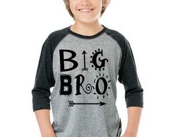 Big Brother Baseball Shirt, Big Brother Shirt, Big Brother Raglan Shirt, arrow shirt, hipster shirt, aztec shirt