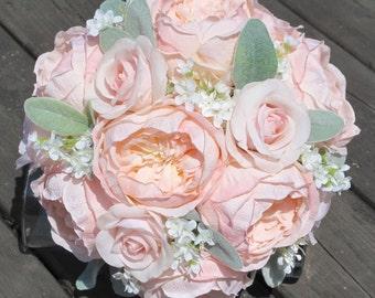 Blush Bridal Bouquet, Pink Rose Bridal Bouquet, Blush Pink Bouquet, Vintage Bouquet, Shabby Chic Bouquet, Pink Bridal Bouquet