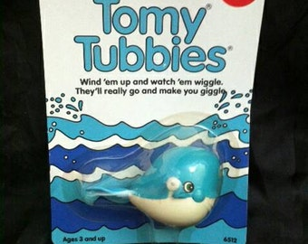 Vintage 1987 Tomy TUBBIES  Wind Up Water Spouting Whale! NEW in package!