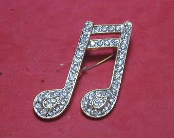 Antique Vintage Costume Brooch Musical Note with White Jewels