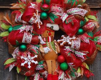 Deco Mesh Christmas Wreath, Front Door Wreath, Christmas Wreath, Holiday Wreath, Large Christmas Wreath, Christmas Wreath Front Door