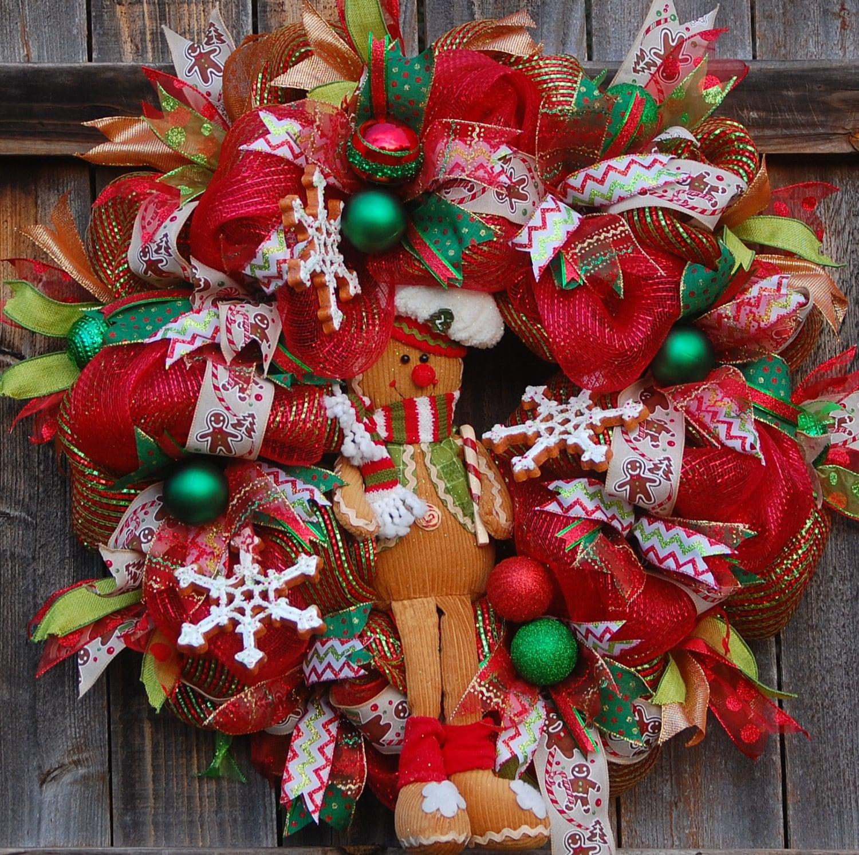 Deco mesh christmas wreath front door wreath christmas for Front door xmas wreaths