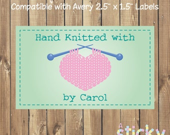 Printable Personalized Hand Knitted Label