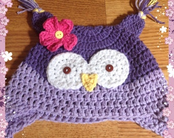 Owl winter hat, girl owl hat, toddler owl hat, baby owl hat, purple owl hat, crochet owl hat, custom colors