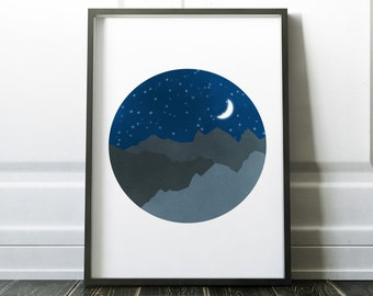 Starry Night Wall Art, Egyptian Print with Moon, Dark Blue and Gray Print with Stars and Moon