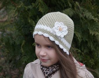 Girl Crochet Flower Hat. Spring hat. Organic cotton hat. Toddler Crochet Hat. Crochet hat with flower. Crochet flower beanie.