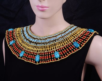 Lovely Ancient Egyptian Beaded Cleopatra 9 Scarabs Necklace Collar