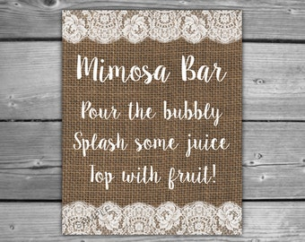 Burlap and Lace Bridal Shower Mimosa Bar Sign - Printable - DIY - Instant Download - Printable Rustic Bridal Shower Table Sign - L06