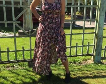 90's floral button down dress