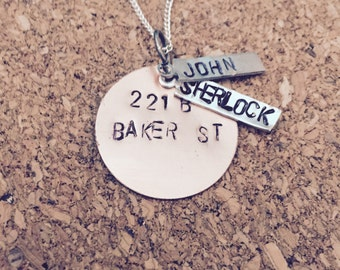 221B Baker st Sherlock and John necklace