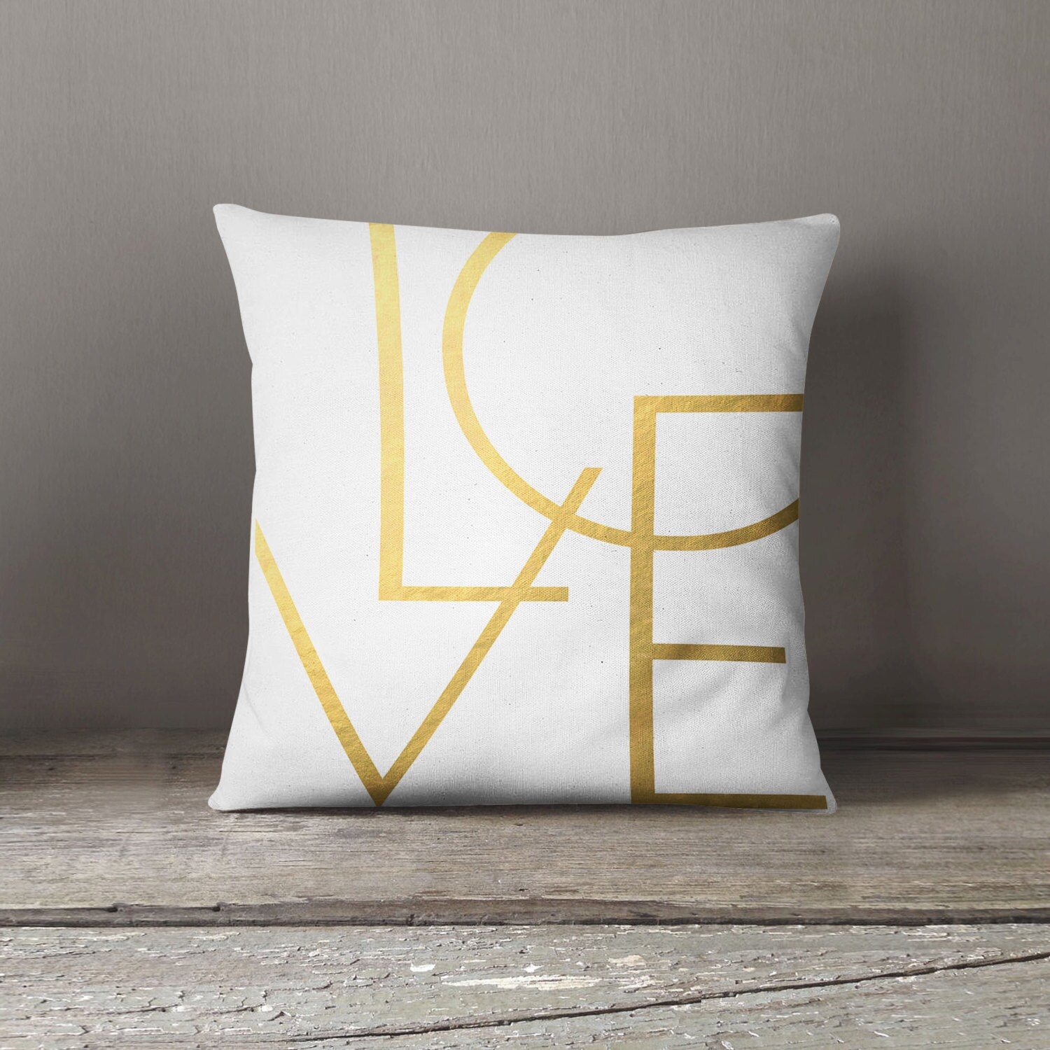modern minimalist cushion gold love typography home