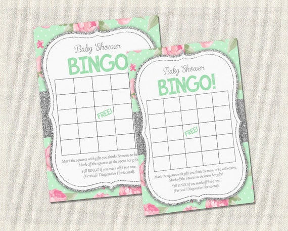 Baby Shower Bingo Shabby Chic Floral Burlap Mint Green Silver