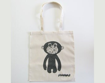 JAPANIMALS Cotton tote bag with monkey screen print