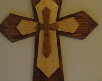 Hand made wooden 3 piece cross