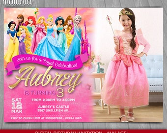 Princess Invitation, Disney Princess Birthday Invitation,  Belle, Cinderella, Ariel, Aurora, Pocahontas, Snow White with photo