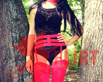 Red Elastic Garter Belt Waist Harness With Strips for Stockings