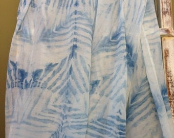 "Shibori Silk/Cotton Voile Indigo Dyed Scarf, 100"" x 26"" Special Offer"