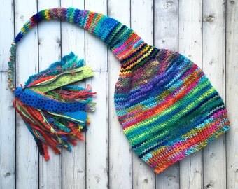 Women Knit Stocking Cap, Colorful Girl Boy Long Tail Tassel Hat, Aqua Blue Green Red Rainbow Toque, Kid Adult Men Multicolor Beanie GiFT